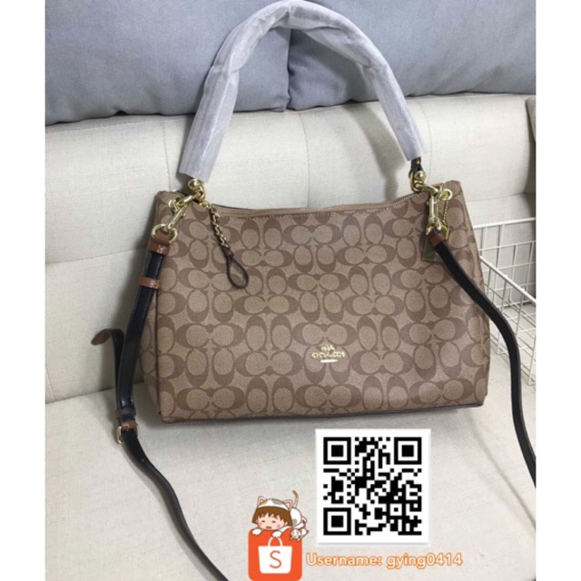 e931d10ddec1 COACH MIA SHOULDER BAG IN SIGNATURE F28967 Brown Beg Women Handbag  Crossbody