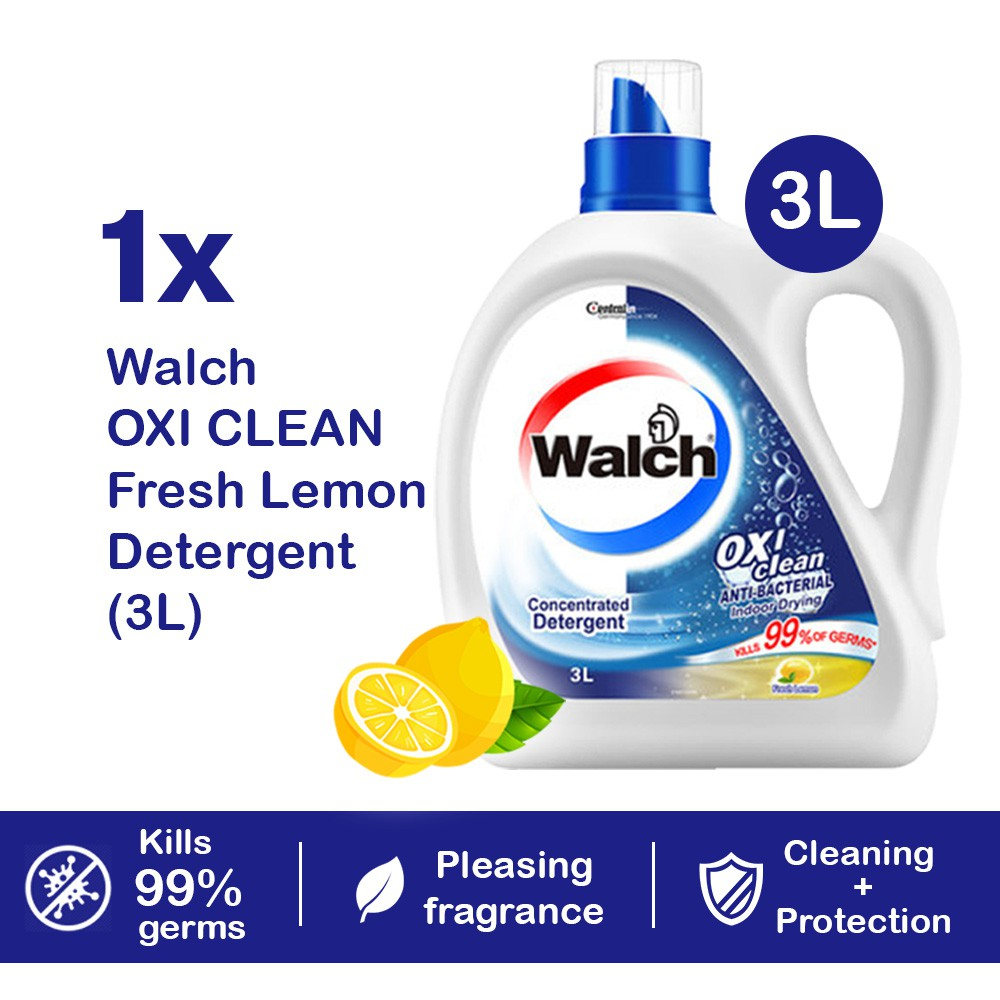 READY STOCK Walch Oxi Laundry Liquid Detergent Fresh Lemon 3L Antibacterial