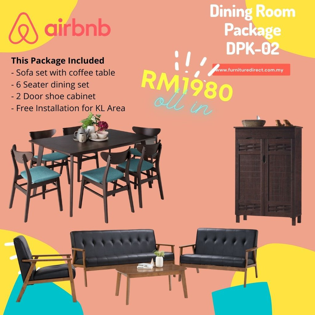 Dining Room Package/ Dining Package/ Perabot Package/ Perabot Set Murah/ Dining Package/ Home Package/ 3 IN 1