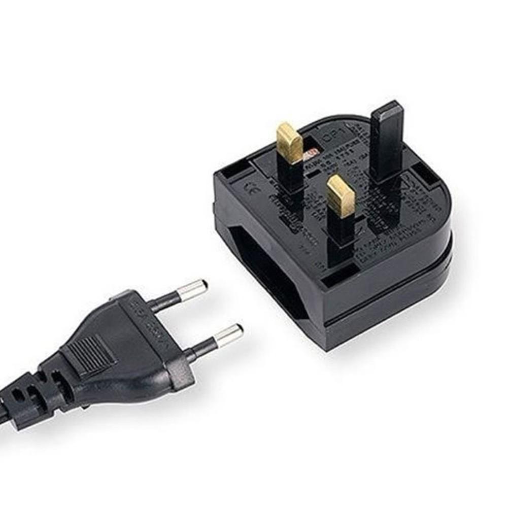 European 2 Pin to UK 3 Pin Plug Adaptor Euro EU Travel Mains Adapter  for Sale