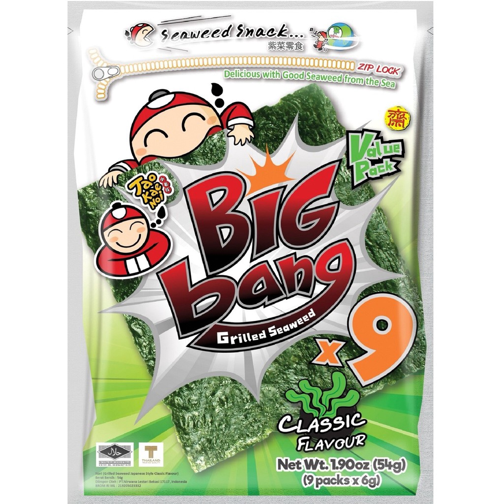 TAO KAE NOI BIG BANG GRILLED SEAWEED - CLASSIC FLAVOUR 9 PACKS X 6G | Shopee