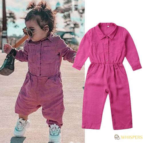 Toddler Kids Boys Girl Linen Jumpsuit Playsuit Dungaree Overalls Outfits Clothes