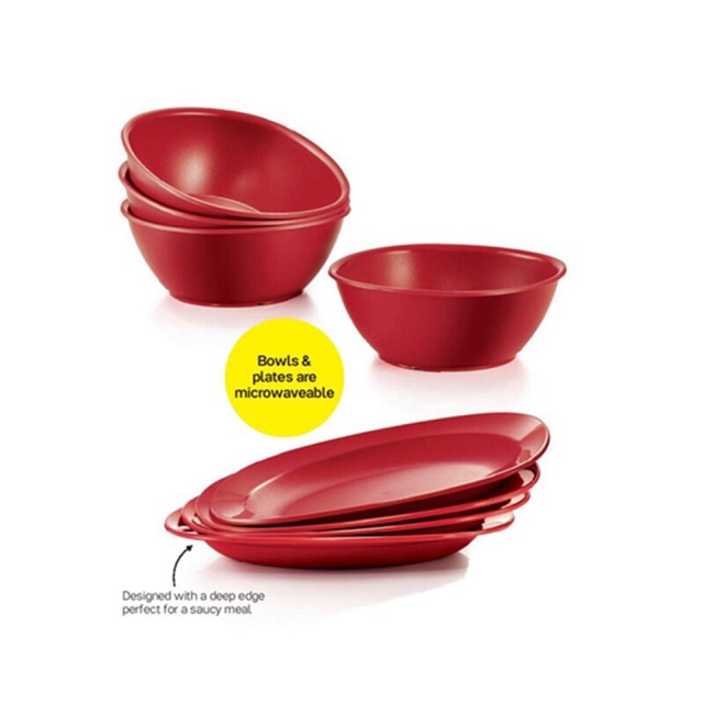 Tupperware Royal Red Bowl & Dining Plate Set