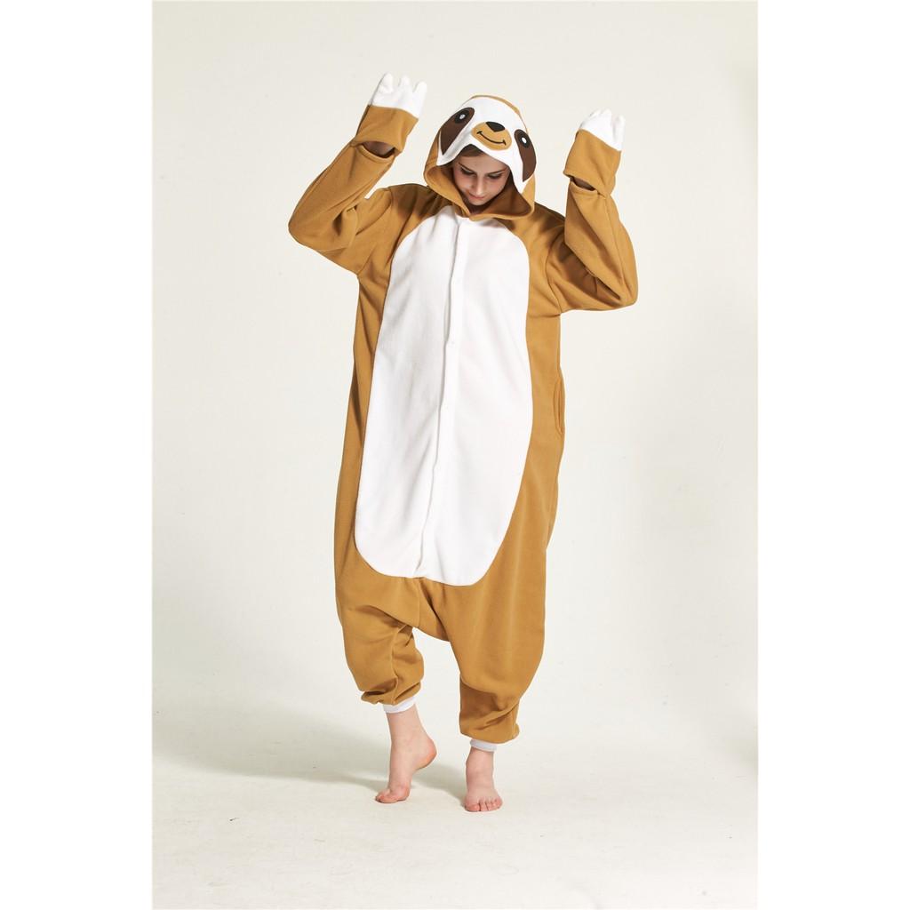 Mens Boys All In One Fleece Jumpsuit Pyjamas Hood Size Small Medium Large XL ape