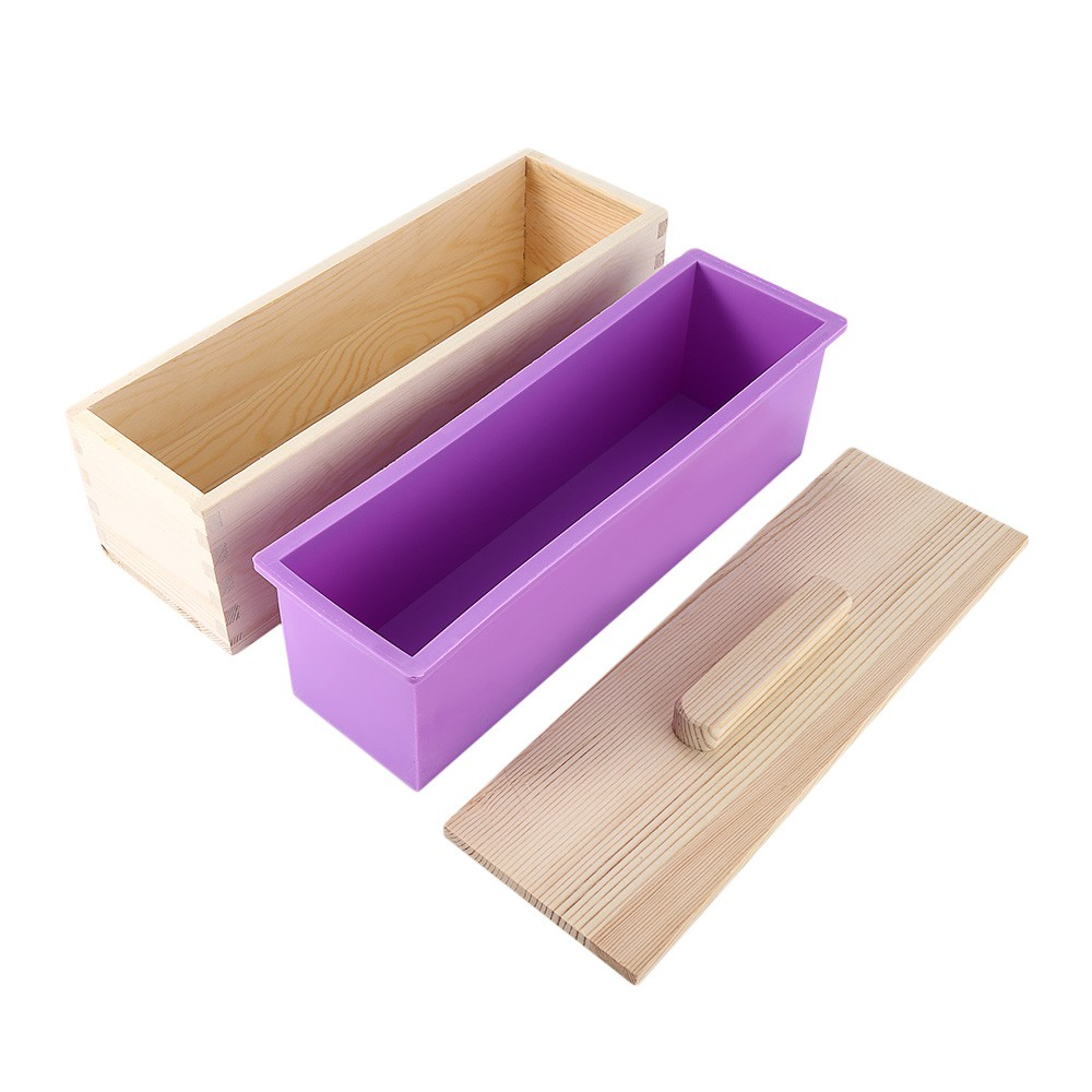Large Wooden Soap Mold Silicone Liner Cake Bar Loaf Candle Food with Lid Tool