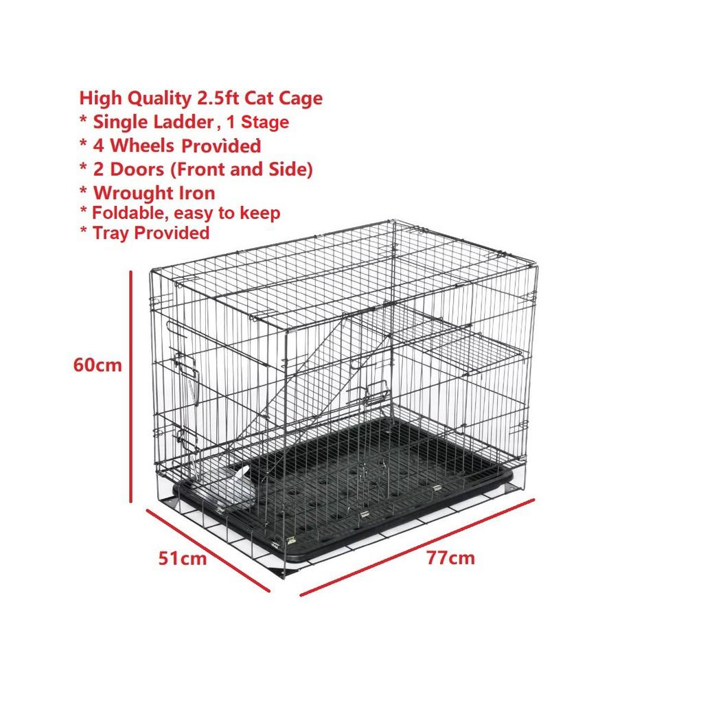KINTONS (CC305M-K) High Quality 2.5 Feet Cat Cage (77Lx51Wx60H cm), Sangkar Kucing Berkualiti 2.5 kaki