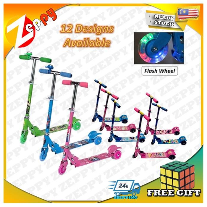Kids Foldable Adjustable Height Cartoon Tri Wheels Kick Scooter Flash Wheel