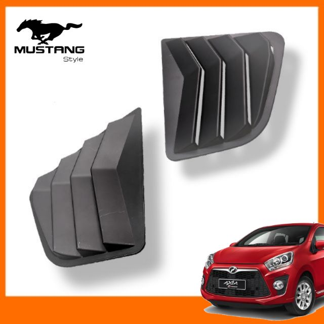 Perodua Axia Rear Side Window Triangle Cover Protector MUSTANG Design