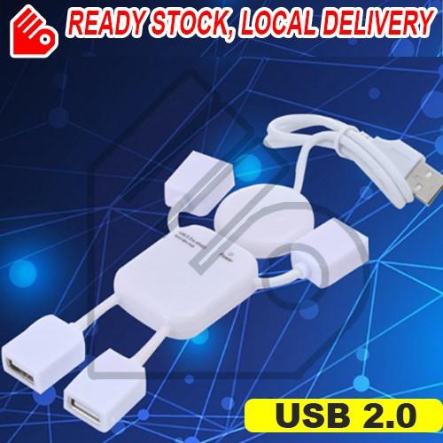 USB 2.0 Hub 4 Port Splitter Adapter Cute Human Shape For PC Computer Laptop