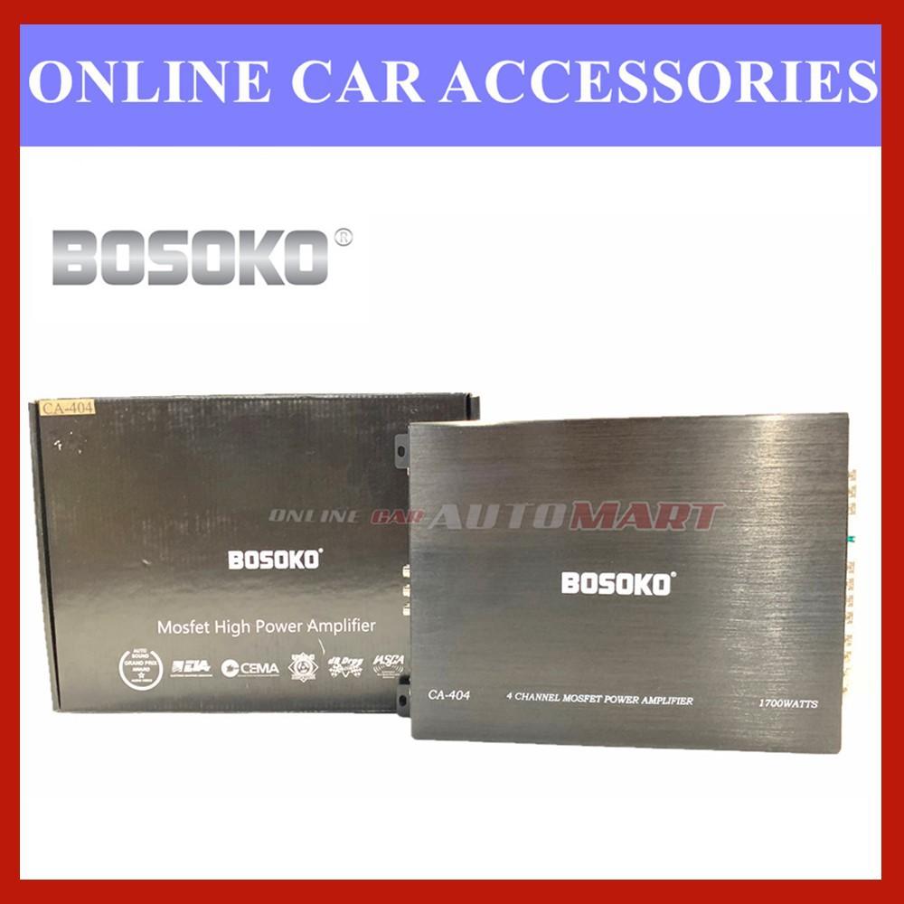 Bosoko 4 channel CA-404 Car Amplifier Mosfet High Performance Power Amplifier Car Audio System (1700 Watts)