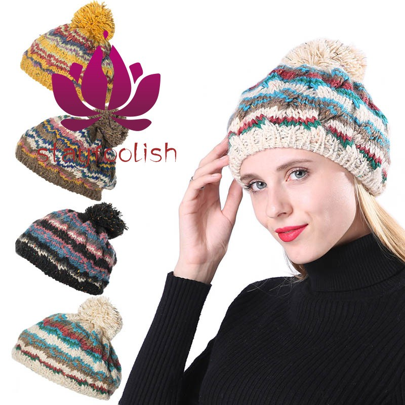 03b30f7b4 Women Warm Ball Cap PomPoms Multicolors Striped Thick Knitted Skullies  Beanies Hat