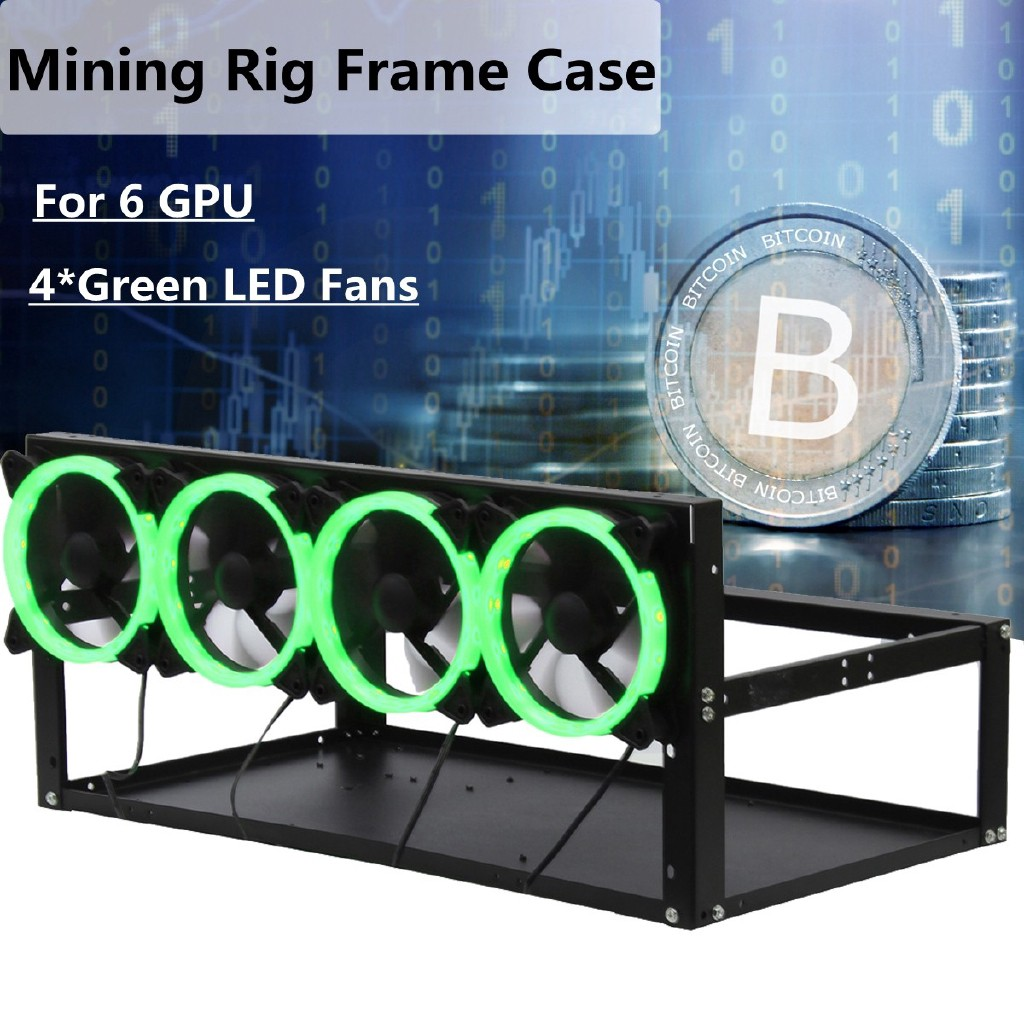 Open Air Mining Rig Case Rack Miner Frame For Ethereum 4 Fans 6 GPU ETH BTC LC Computer Components & Parts
