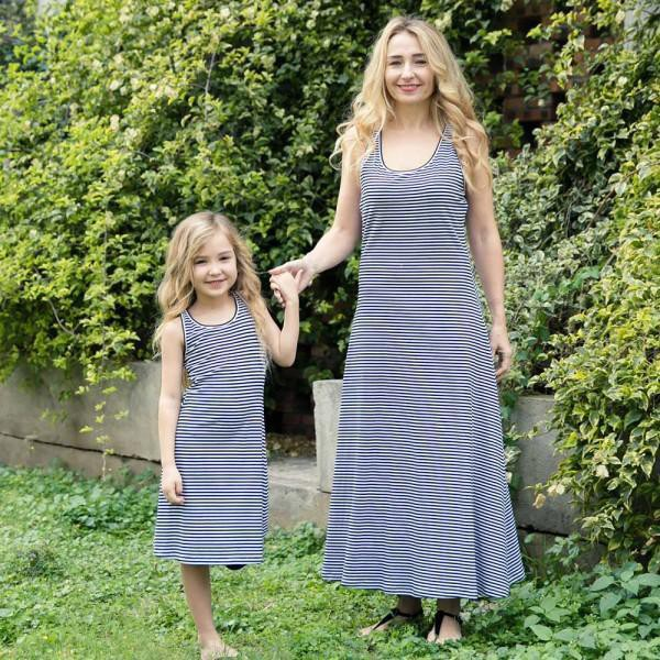 8fc9fa2f0e5a2 Mom and Daughter Striped Vest Maxi Dress OOTD Summer Family matching outfits