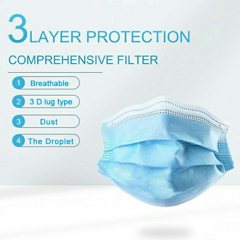 (Ready Stock) 5 Pcs 3 Layer Protection Adult Face Mask