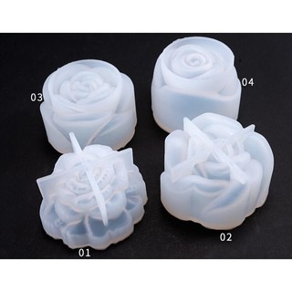 4Pcs 3D Flower Rose Silicone Mold Resin Mould DIY Craft