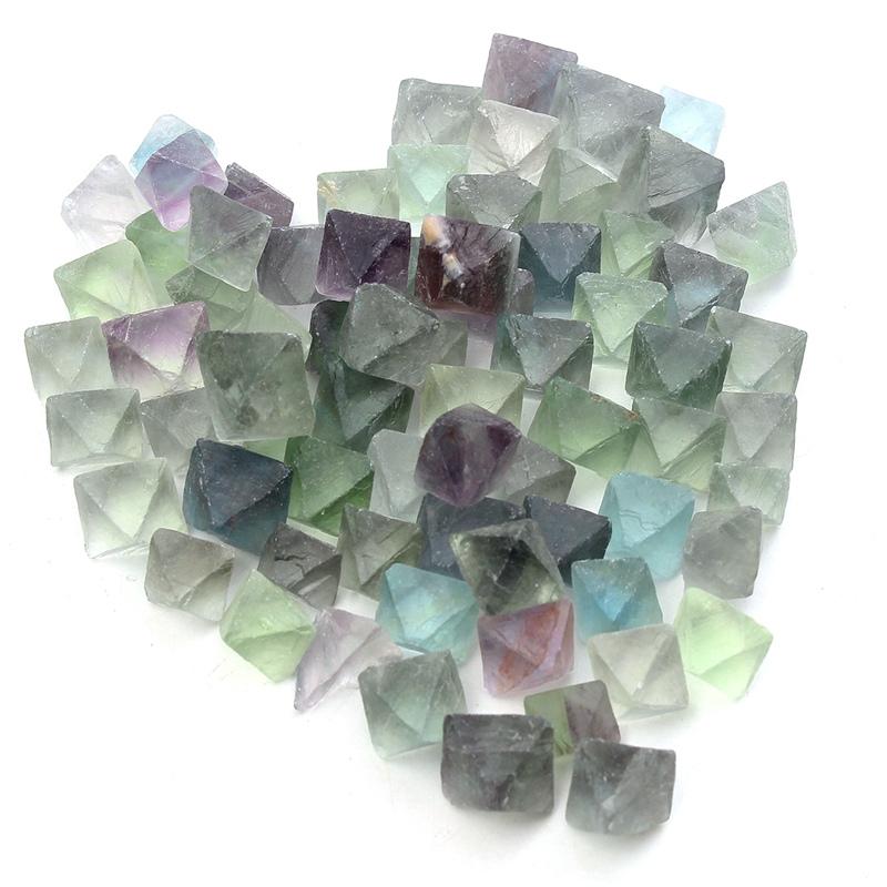 KiWarm 230g Blue Green Fluorite Octahedron Crystals Stones Healing Stones
