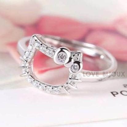 Hello Kitty S925 Sliver Diamond Ring Adjustable Platinum