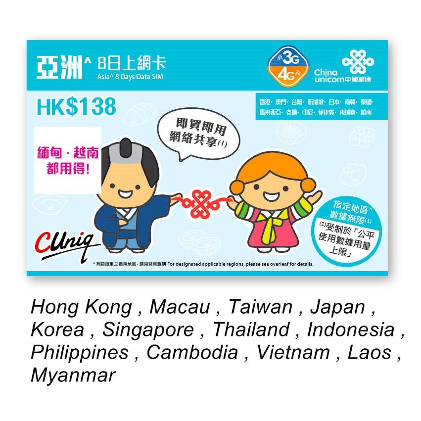 Travel Asia Online Data Card 2GB 4G Online 8 days