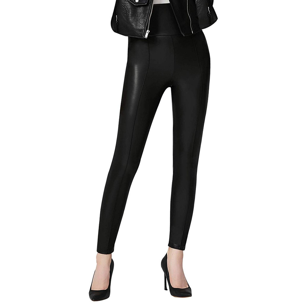 8037bc89b5d Everbellus Black Faux Leather Leggings for Women Stretch Leather Pants with  Pock