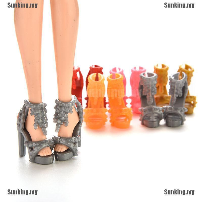 10 Pairs Shoes High Heels Sandals Dollhouse For Barbie Doll Accessories