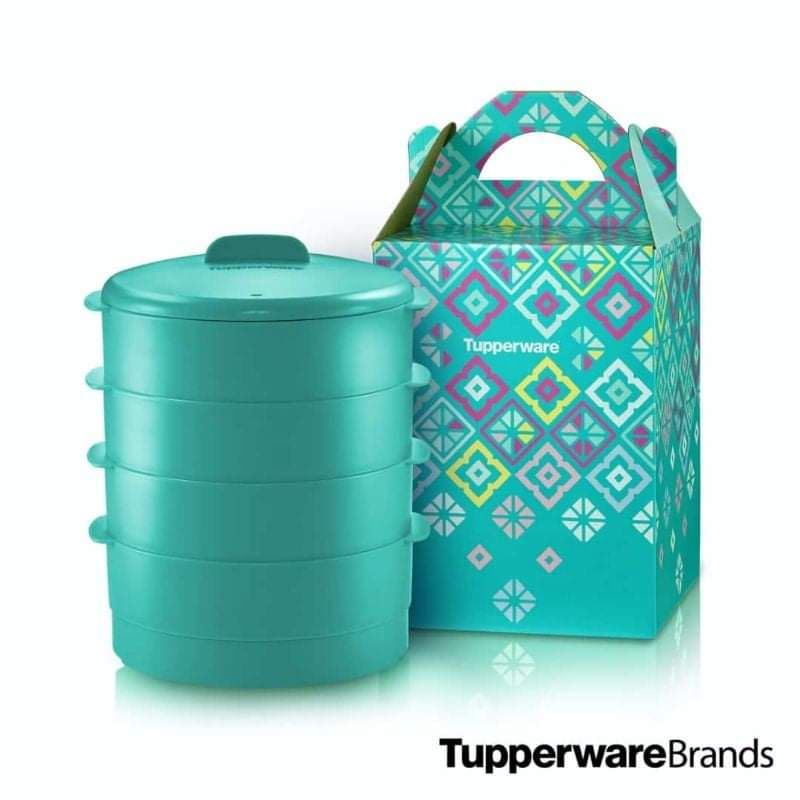 [READY STOCK] 【4 Tier + Gift Box】 Tupperware Steam It Limited Edition Turquoise pwp Plate O Bowl