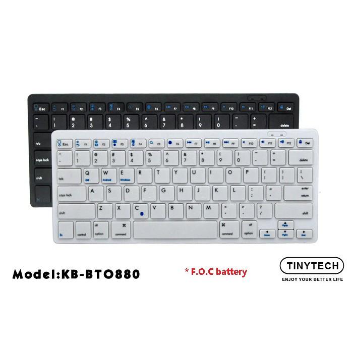 TINYTECH ULTRA-FLAT Bluetooth Mini wireless Keyboard Slim size design with 78 keys KB-BTO880 less noise easy to setup