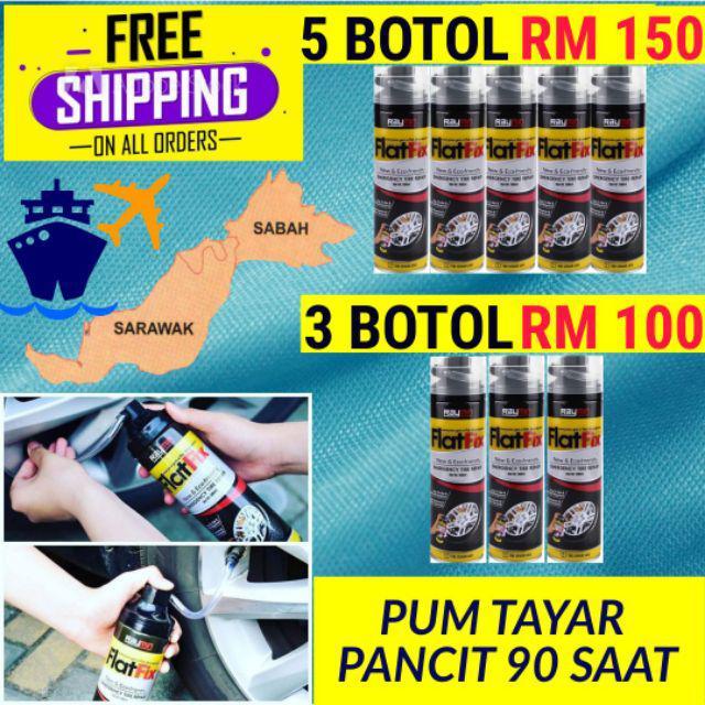Sabah, Sarawak & Semenanjung FREE Shipping RAYMIN FLATFIX Tyre Sealant & Inflator Baiki Tayar Pancit Bocor