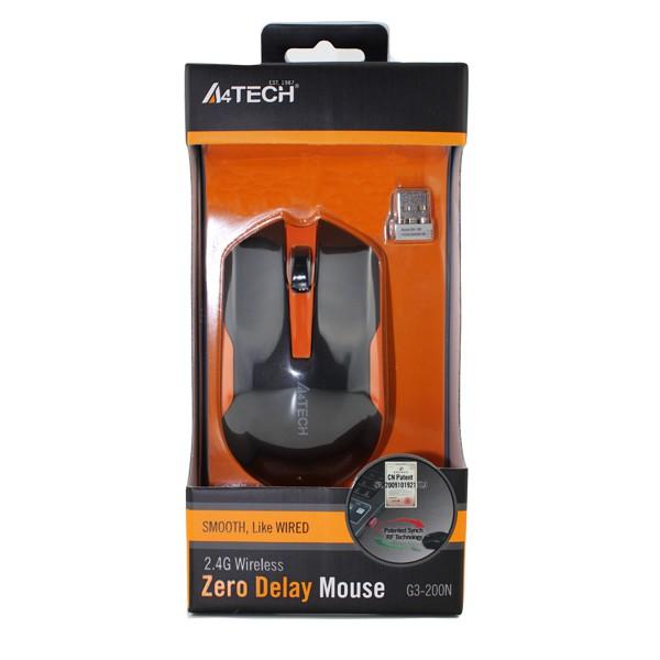 A4Tech Wireless Padless Mouse G3-200N-2 Black Orange