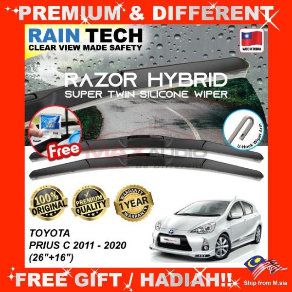 [FREE Gift] TOYOTA PRIUS C 2011 - 2020 (26/16) RAIN-TECH RAZOR HYBRID Silicone Aerodynamic Clean Wipe Safety Wiper Blade