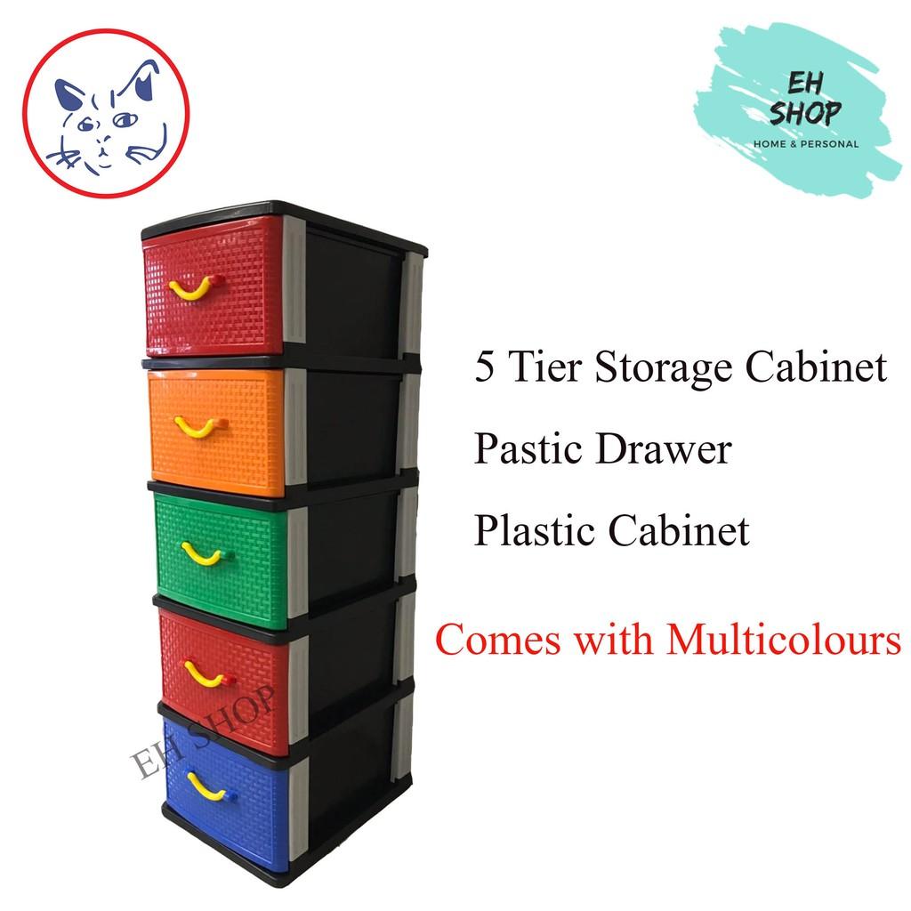 Eh 5 Tier Storage Cabinet Plastic, Plastic Drawer Cabinet Tesco