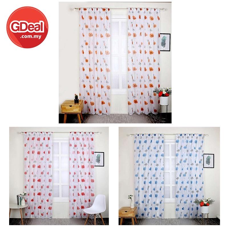 GDeal Quality Tebal Lotus Flower Tulle Printed Ring Curtain Bedroom Living Room Curtains Langsir