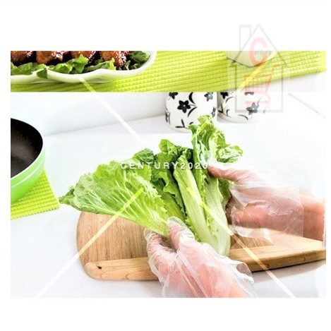 RIMEI Food Grade Disposable Glove Film, Household Kitchen and Catering Transparent PE Plastic Gloves WF 60 PCS