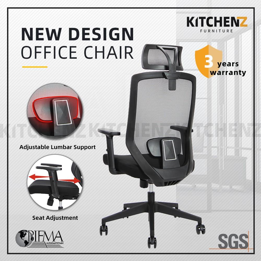 (3 Years Warranty) HomeZ Joy High Back Mesh Office Chair with Ergonomic Design / Kerusi Pejabat - HMZ-OC-HB-JOY-H-BK+BK