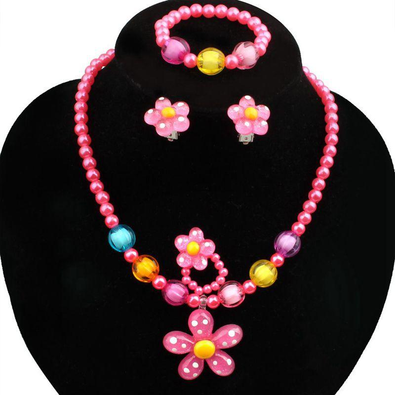 4pcs Lovelygirls Kids Beaded Sun Flower Necklace Bracelet Rings