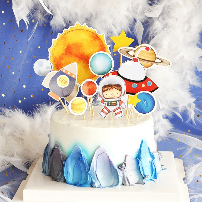 Wondrous Trip To The Moon Cake Topper Picks Outer Space Earth Planets Funny Birthday Cards Online Sheoxdamsfinfo