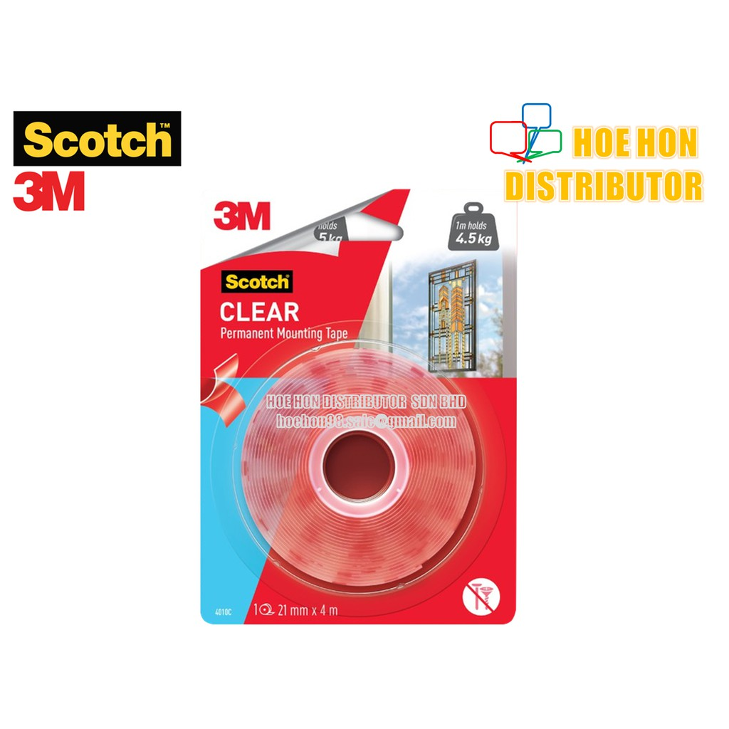 3M Scotch Clear Permanent Mounting Tape 21mm x 4m