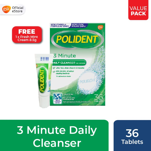 Polident Denture and Retainer Cleaning Tablets, 3 Minute ...