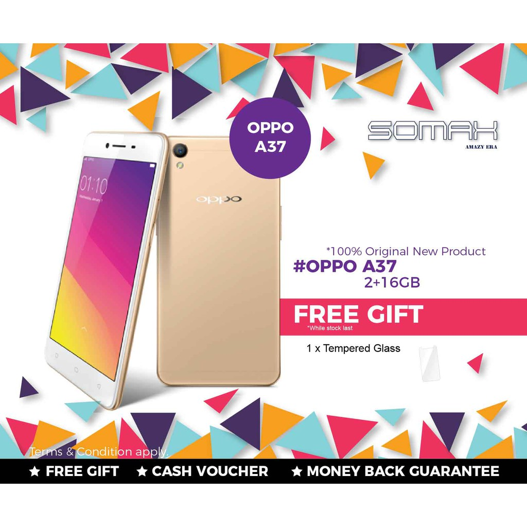 Oppo A37 New 4g 5 Inch Ram 2gb Rom 16gb 2 Snapdragon 410 Dual Sim Imported Set Shopee Malaysia