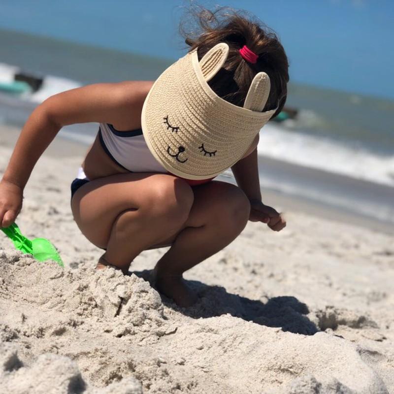 b551b3675 Kids Baby Summer Cartoon Rabbit Straw Hat Top Empty Breathable Beach Sun  Hats