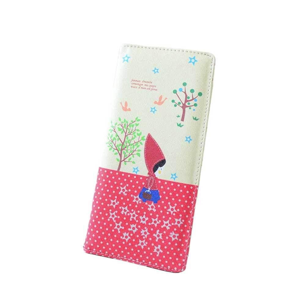 Fashion Women PU Leather Purse Little Red Riding Hood Polka Dot Wallet Candy Color Clutch Bag (Red)