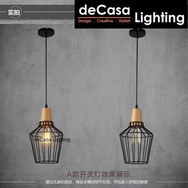 Single Loft Pendant Light DECASA E27 Simple Wood Design Lampu Hiasan Ceiling Hanging Lamp Kitchen Light Fixture (5012)