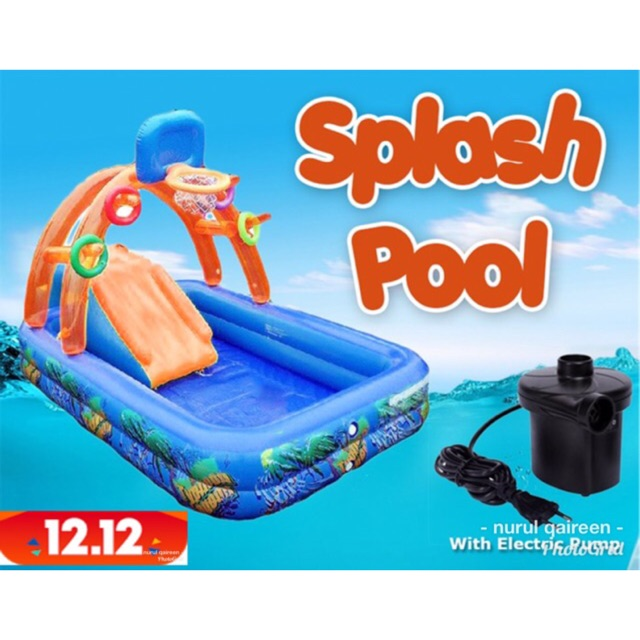 🎁FREE PUMP 🎁SPLASH POOL Wild Waves Water Park Slide Pool Kolam swimming  banzai