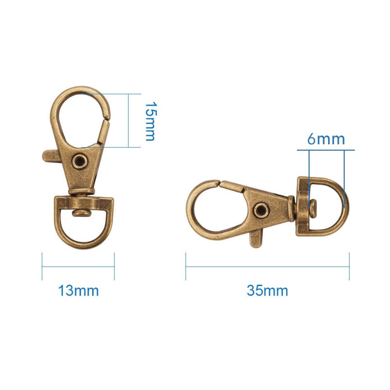 50Pcs Alloy Swivel Lobster Claw Clasps with Snap Hook Size 35x13mm Hole 6mm