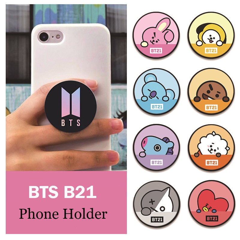 【Ready Stock】Ins Hot KPOP BTS BT21 Mobile Phone Bracket Cell Phone Ring  Stand Phoneholder