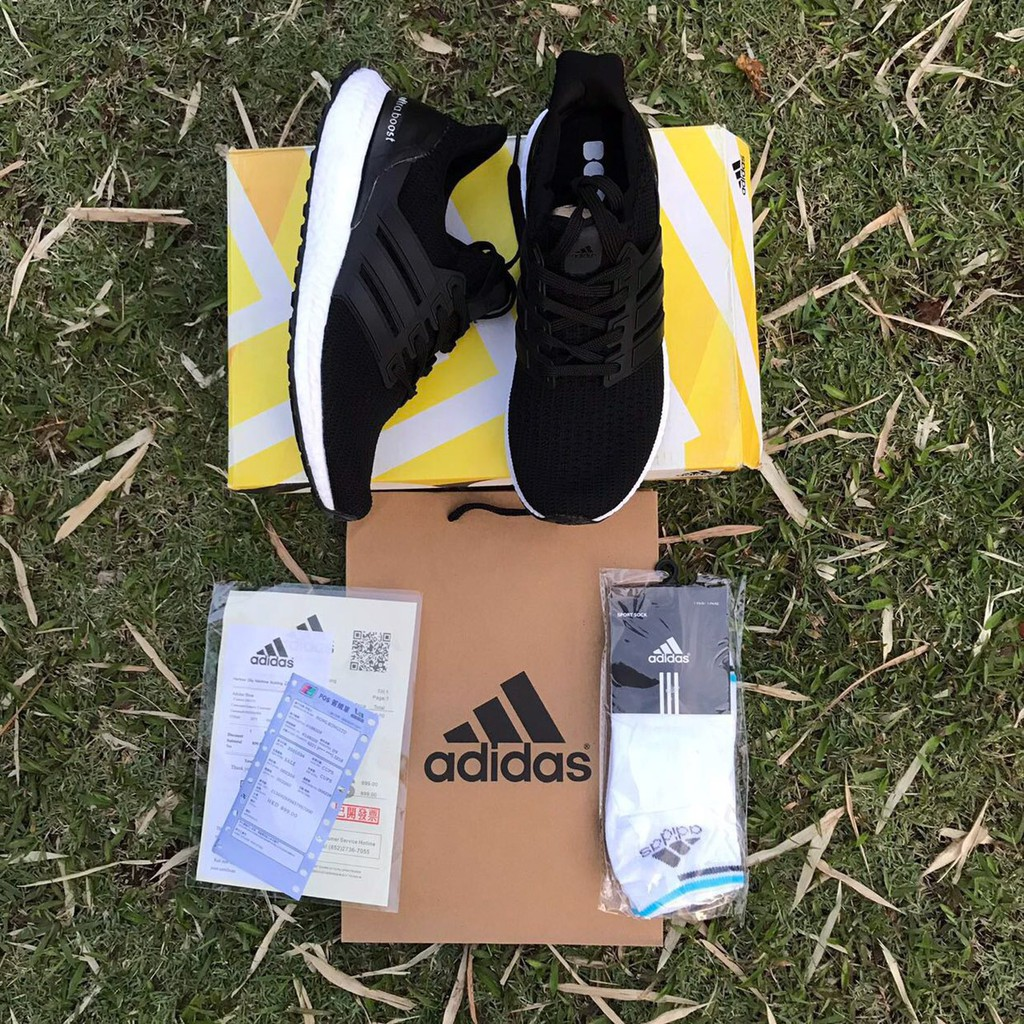 fc14fc857c1 COPY OR 40-45 🔥 ADIDAS ULTRA BOOST BLACK WHITE FREE SOCKS AND PAPERBAG