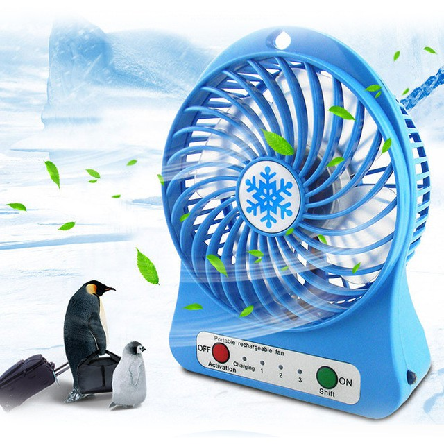 Summer handheld small no fan blades cooling electric fan usb creative portable rechargeable fan for travelling hiking camping swimming outdoor Color : Blue