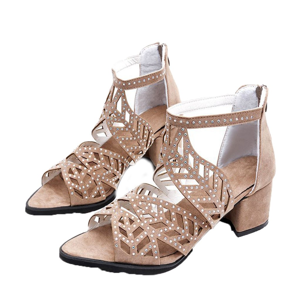 cd6d0223a7 Women Summer Hollow Out Faux Leather Rhinestones Thick Heel Zipper Sandals  Shoes