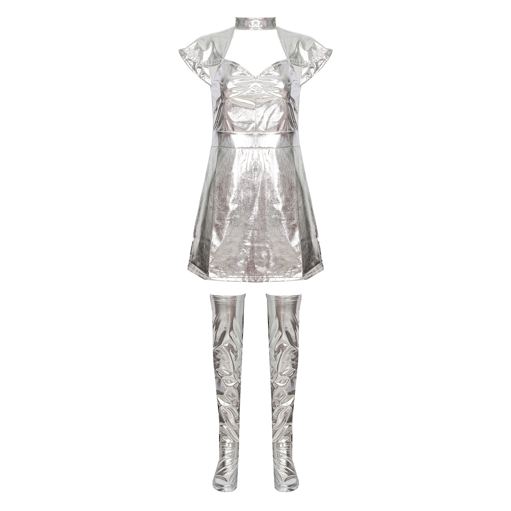 Silver Outer Space Uniform Star Wars Cosplay Warrior Girl Costume
