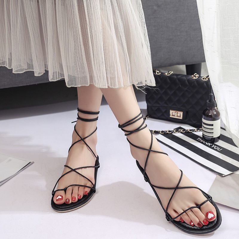 86ba6fd198c0 Rome Gladiator Sandals Women s Summer Ankle Strap Flat PU Leather Shoes  Size New Sandals