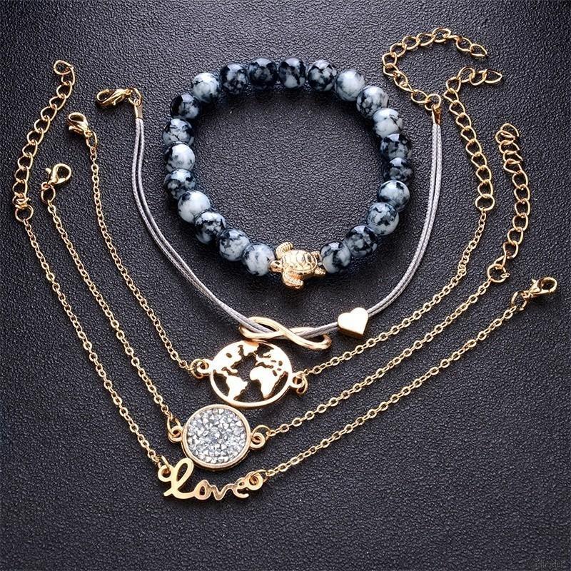 64bffd7f76143 5Pcs Beads Rhinestone Turquoise Vintage Style Bohemia Stack Bracelet Sets